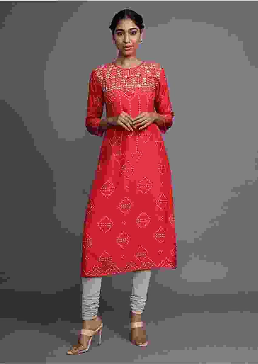Red Kurti With Bandhani Printed Geometric Motifs And Gotta Patti Work On The Yoke Online - Kalki Fashion