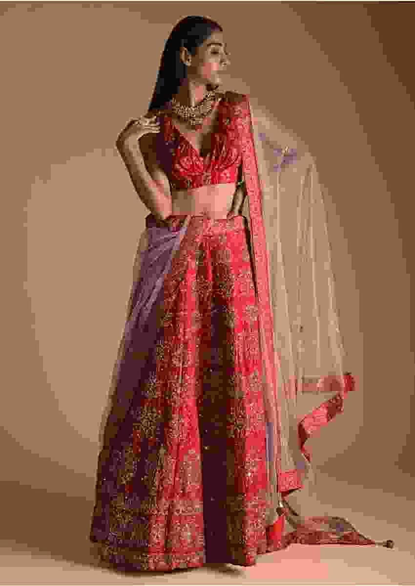 Red Lehenga Choli In Silk With Foil Printed Abstract And Floral Motifs Along With Gotta Work Online - Kalki Fashion