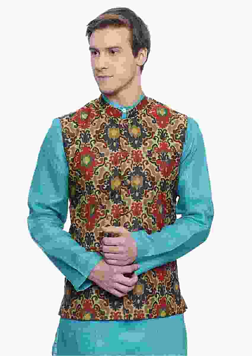 Red Nehru Jacket In Chanderi With Multi Color Moroccan Print All Over By Mayank Modi