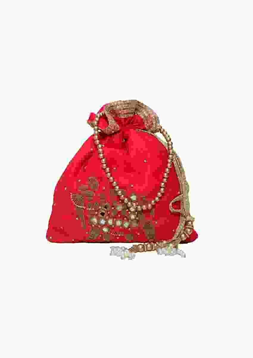 Red Potli Bag In Raw Silk With Mirror And Zardosi Embroidered Elephant Motif By Pink Cocktail