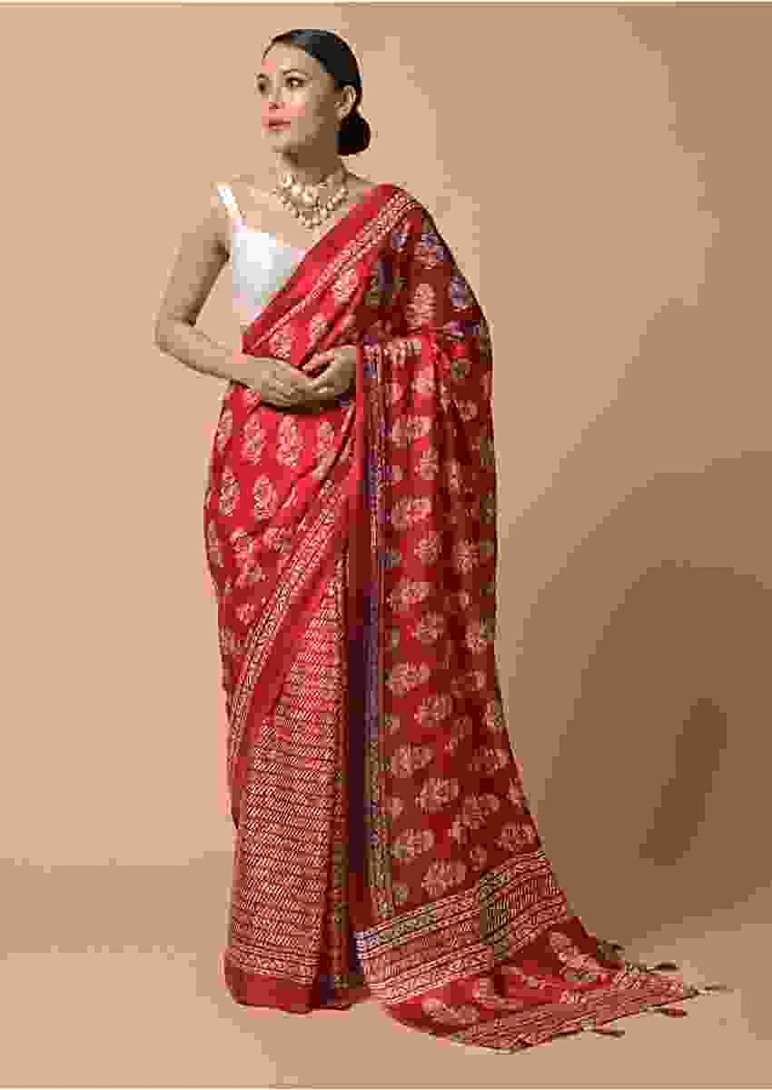 Red Saree In Satin Blend With Floral And Batik Print Online - Kalki Fashion