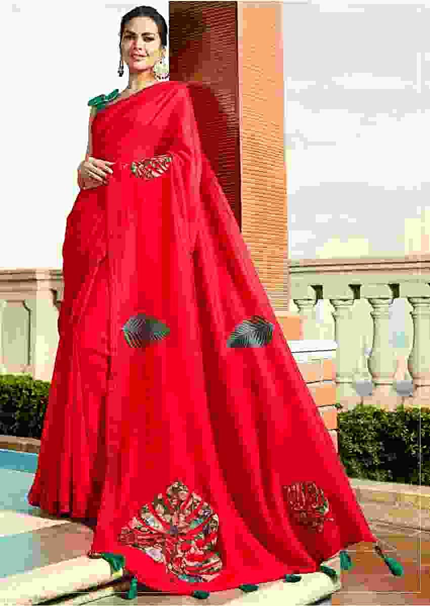 Red saree in silk with leaf motif printed patch work Online - Kalki Fashion