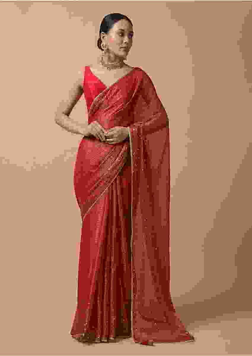 Red Saree In Zari Kota Silk With Woven Zari Stripes And Sequins Highlights Online - Kalki Fashion