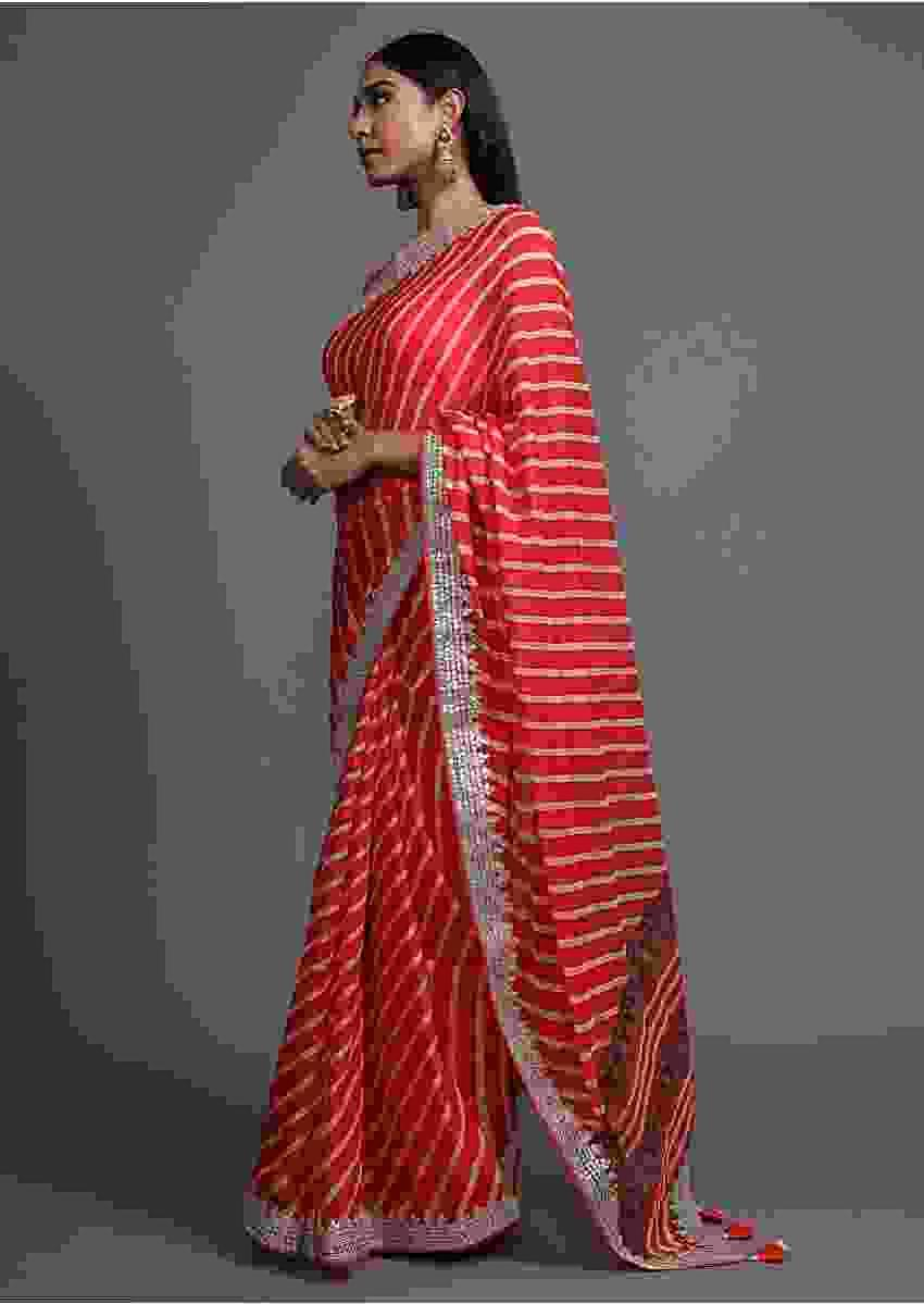 Red Saree With Lehariya Print And Paisley Motifs On The Pallu Along With Gotta Border Online - Kalki Fashion