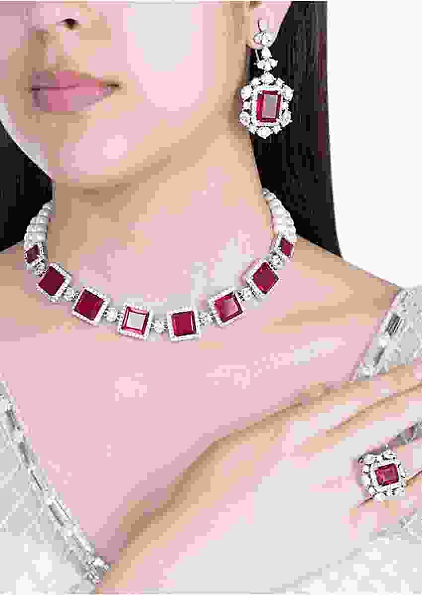 Red Stone Studded Necklace, Earrings And Ring Set In Geometric Design By Aster