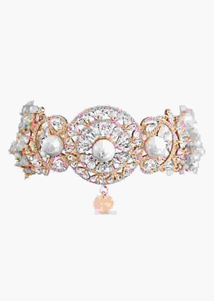 Rose Gold Choker Encrusted With Scores Of Sparkling Swarovski Crystals, Pearls And Semi-Precious Stones By Prerto