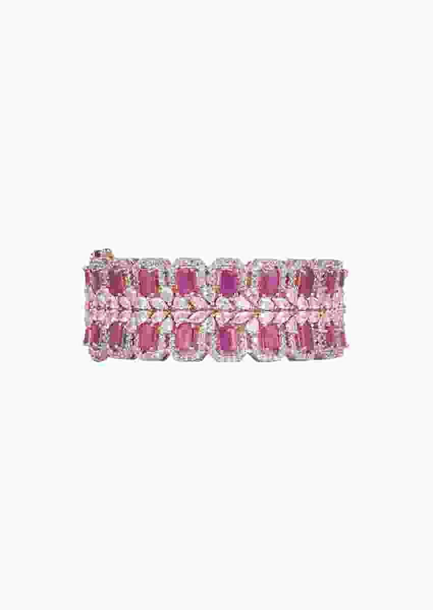 Rose Gold Finish Openable Bangle Studded With Faux Diamonds And Dark Pink Stones By Aster