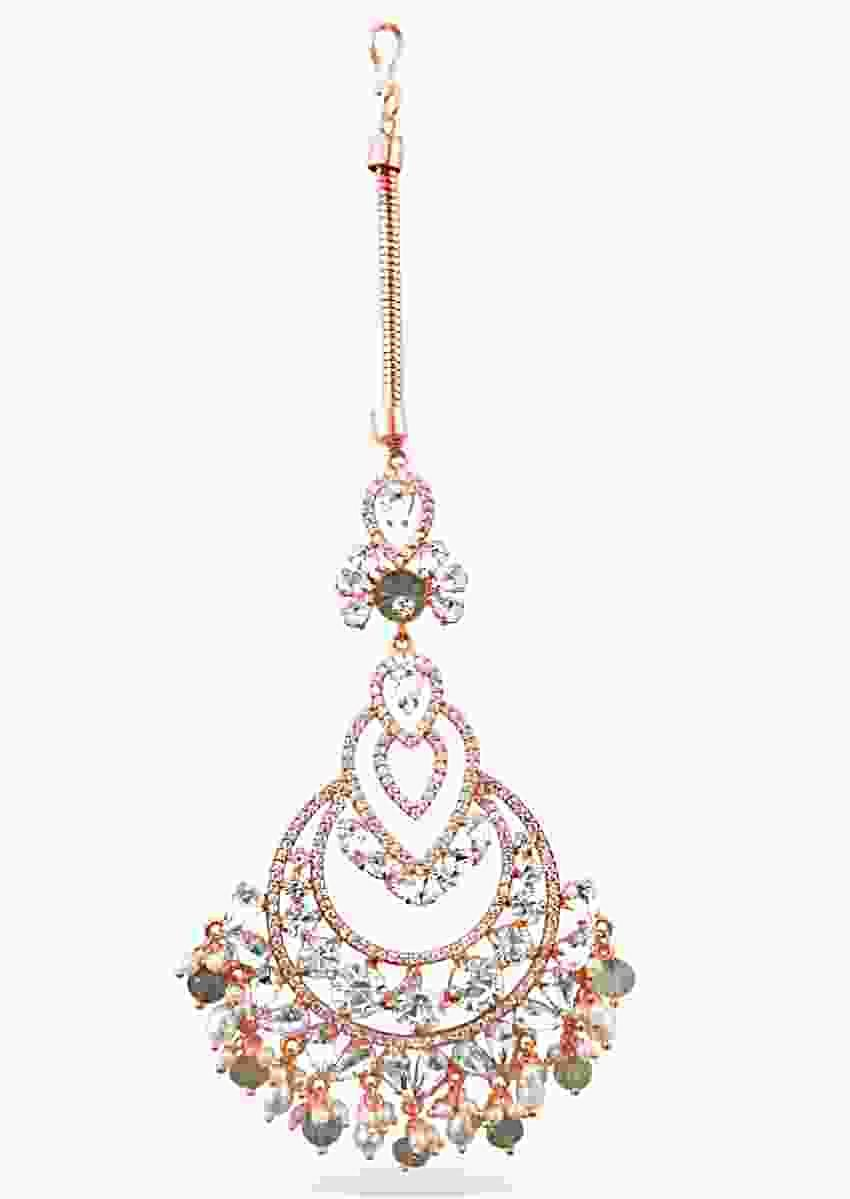 Rose Gold Maang Tika Designed With Glinting Swarovski Stones And Semi-Precious Carved Beads By Prerto