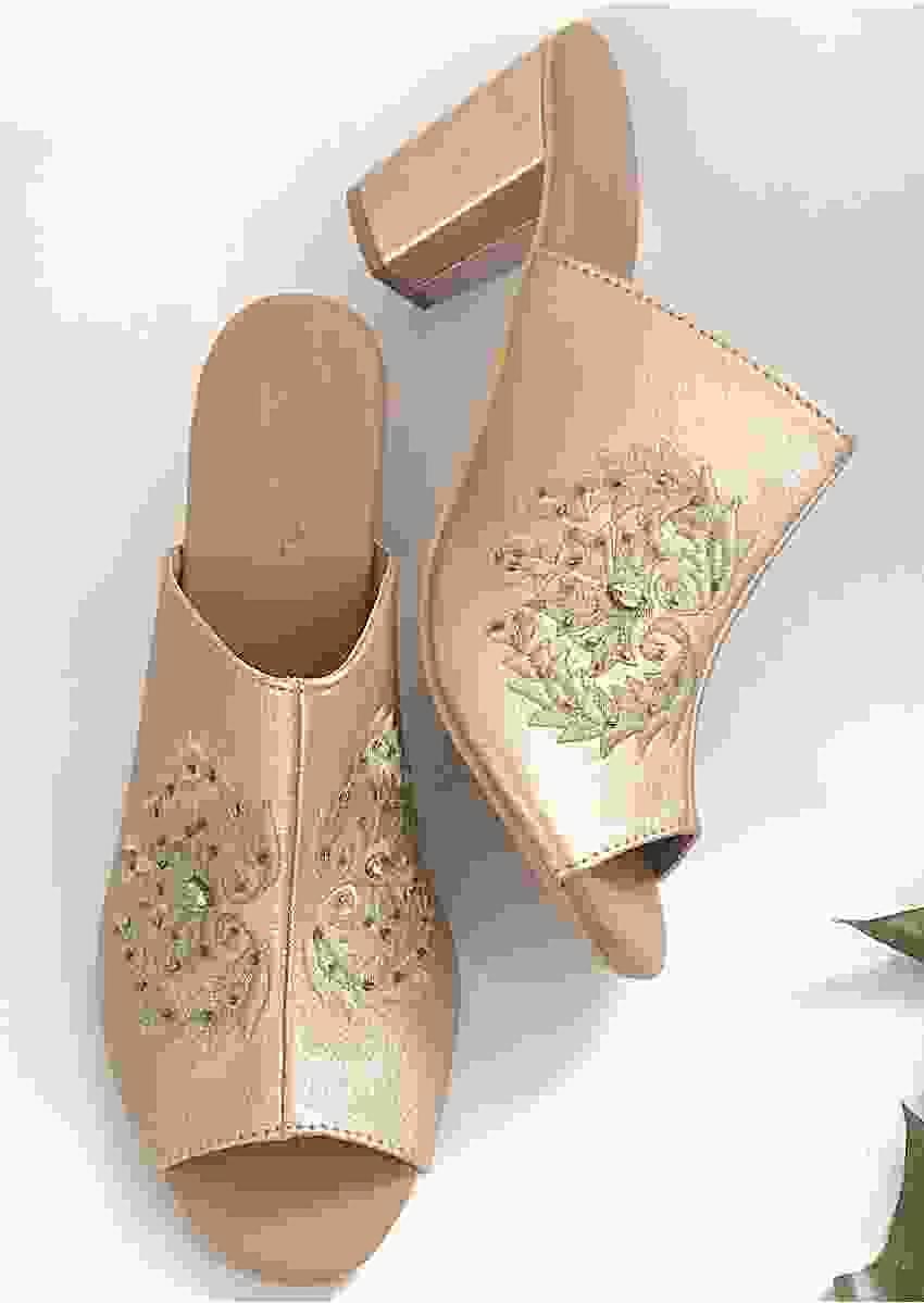 Rose Gold Mules With Zari Embroidery And 3 Inch Block Heel By Sole House