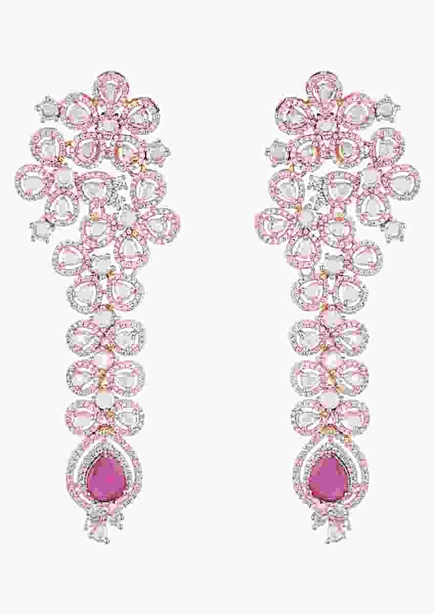 Rose Gold Plated Earrings With Faux Diamonds And Red Stones In Floral Inspired Design By Aster