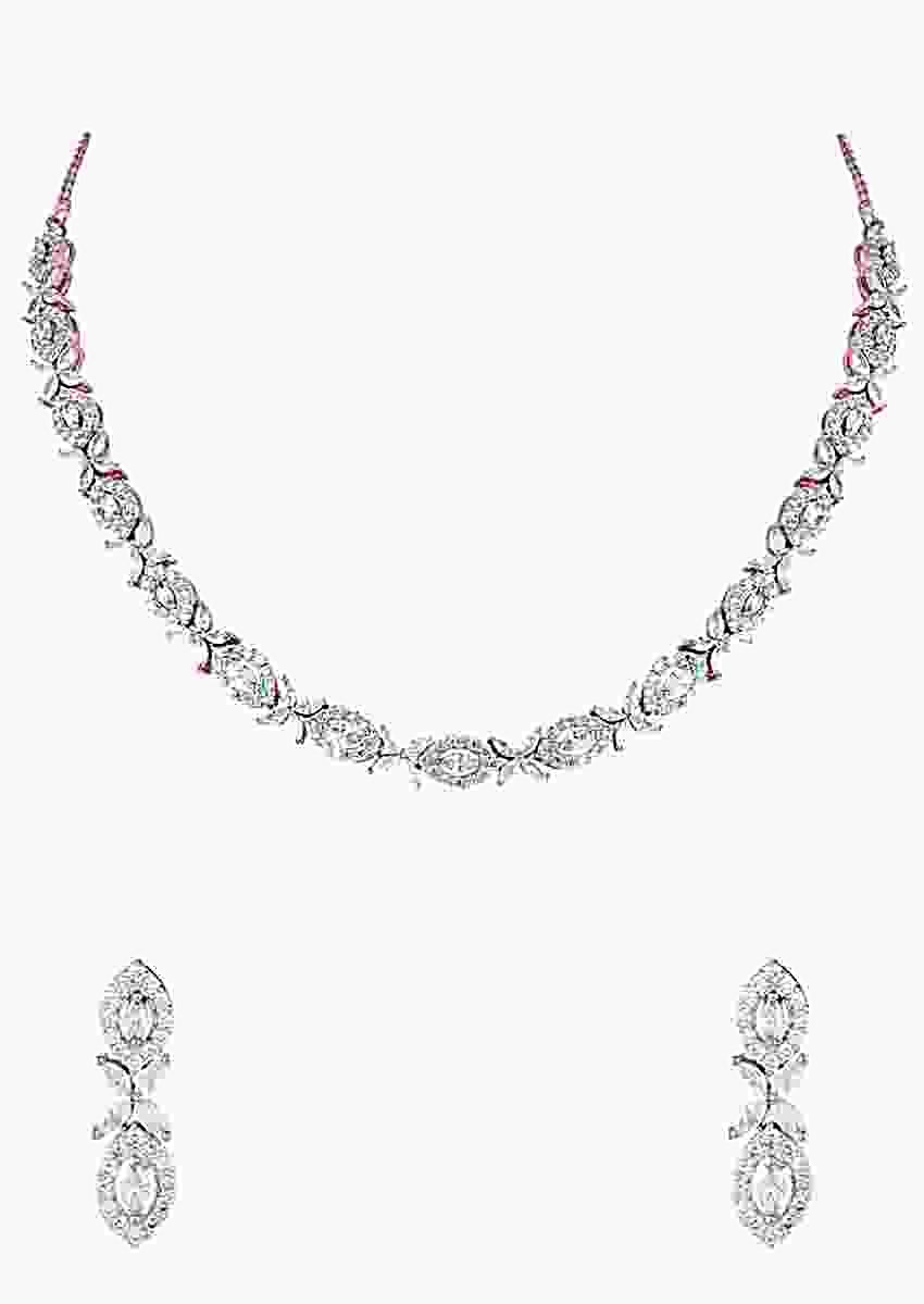 Rose Gold Plated Necklace And Earrings Set With Faux Diamonds In Minimalistic Design By Aster