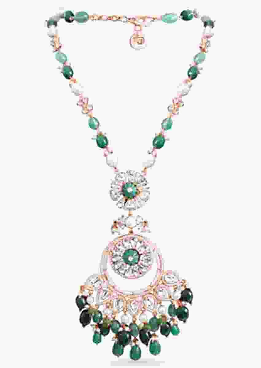Rose Gold Plated Necklace Strung With Exquisite Pearls, Semi Precious Green Beads And Swarovski Stone By Prerto