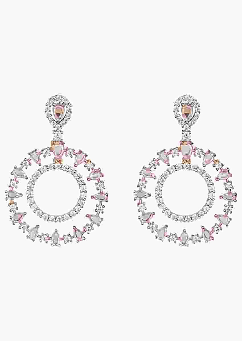 Rose Gold Pleated Earrings In Geometric Design With Faux Rose Cut Diamonds By Aster