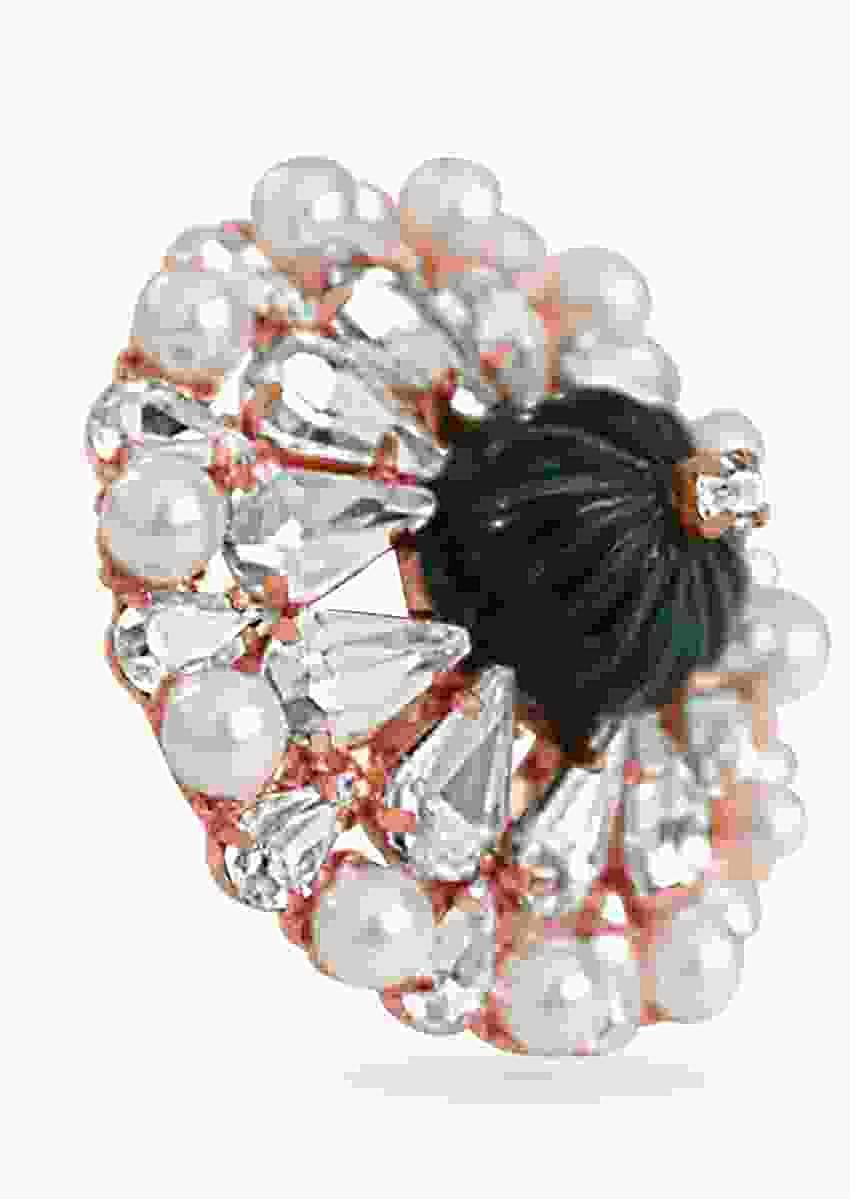 Rose Gold Ring With Sparkling Swarovski, A Gorgeous Semi-Precious Carved Centre Stone And Delicate Pearls By Prerto