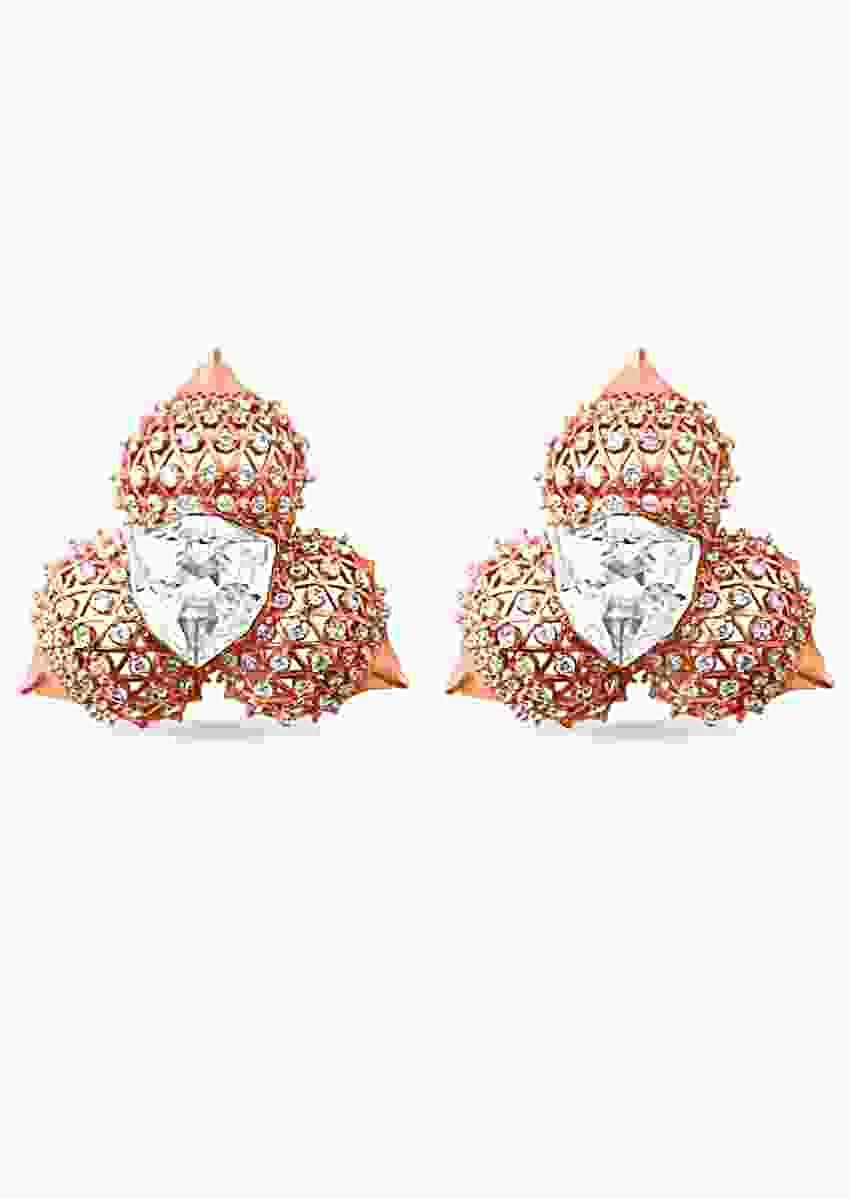 Rose Gold Studs With Swarovski In Russian Architecture Inspired Dome Design By Prerto