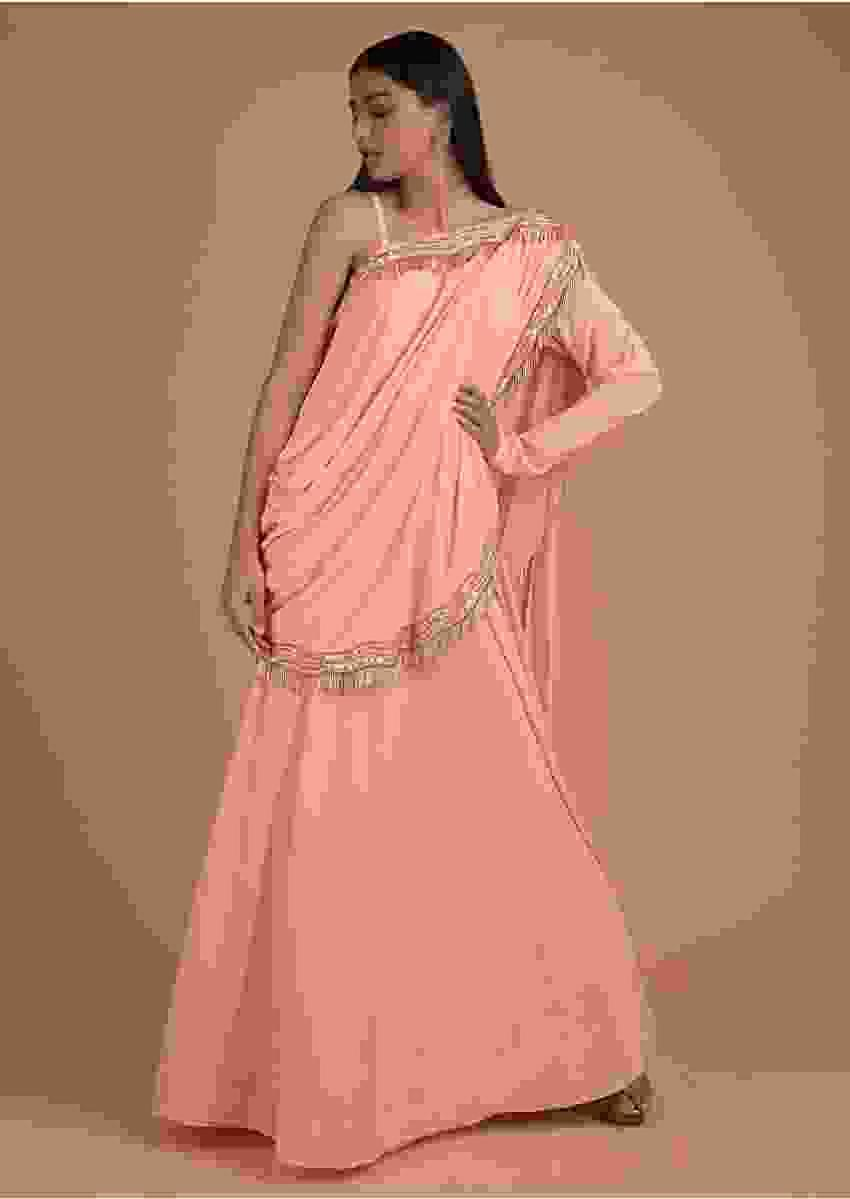 Rose Peach Long Dress With Attached Fancy Drape Having Salli Fringes On The Border  Online - Kalki Fashion