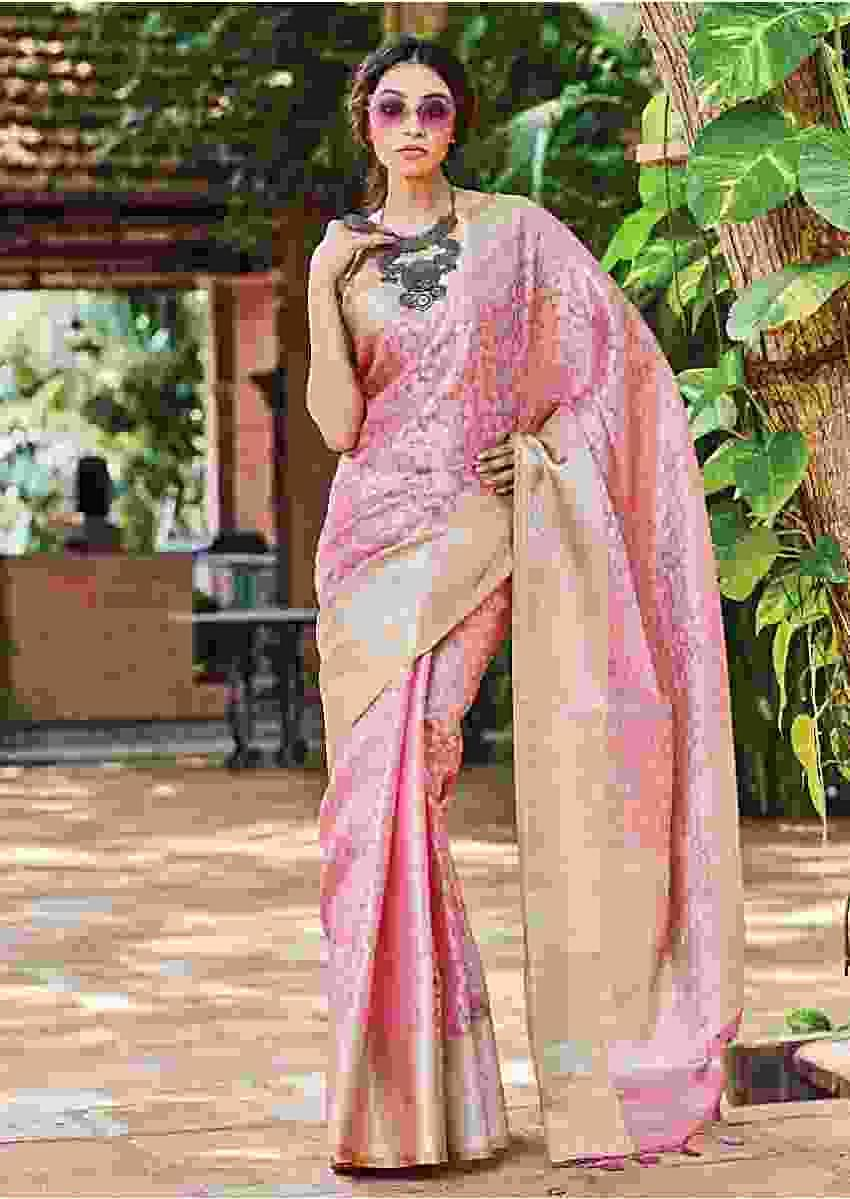 Rose Pink Banarasi Saree In Silk With Weaved Chandelier Motifs In Jaal Pattern Online - Kalki Fashion