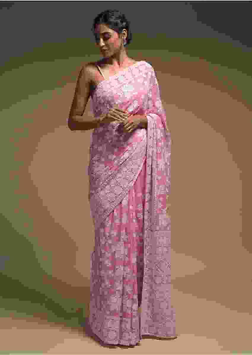 Rose Pink Saree In Georgette Adorned With Lucknowi Thread Embroidery In Floral Pattern Online - Kalki Fashion