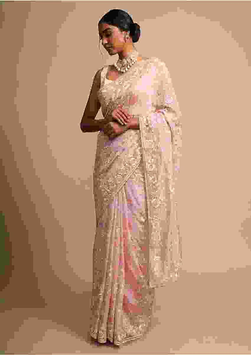Rose Pink Saree In Satin Crepe With Resham Embroidered Floral Jaal Online - Kalki Fashion