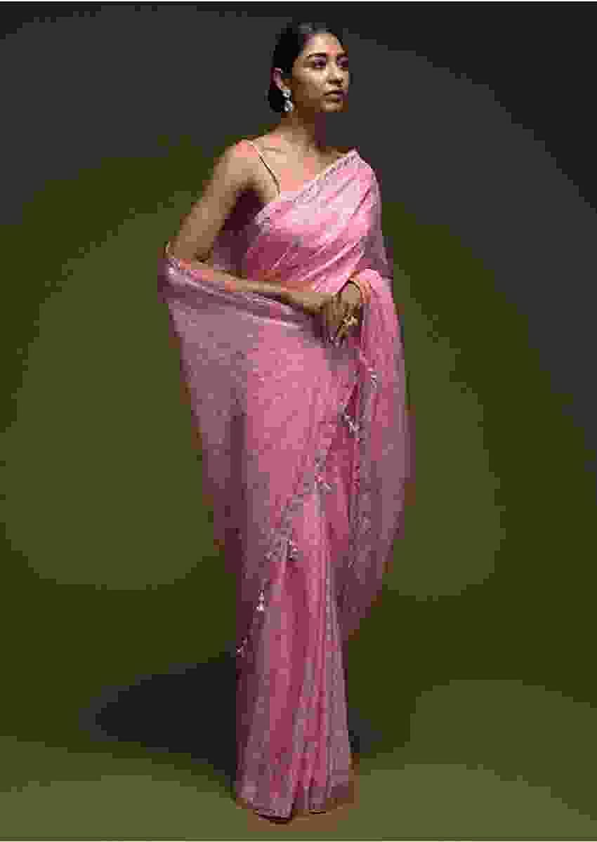 Rose Pink Saree In Silk Blend With Brocade Buttis And Gotta Patti Embroidered Border Online - Kalki Fashion