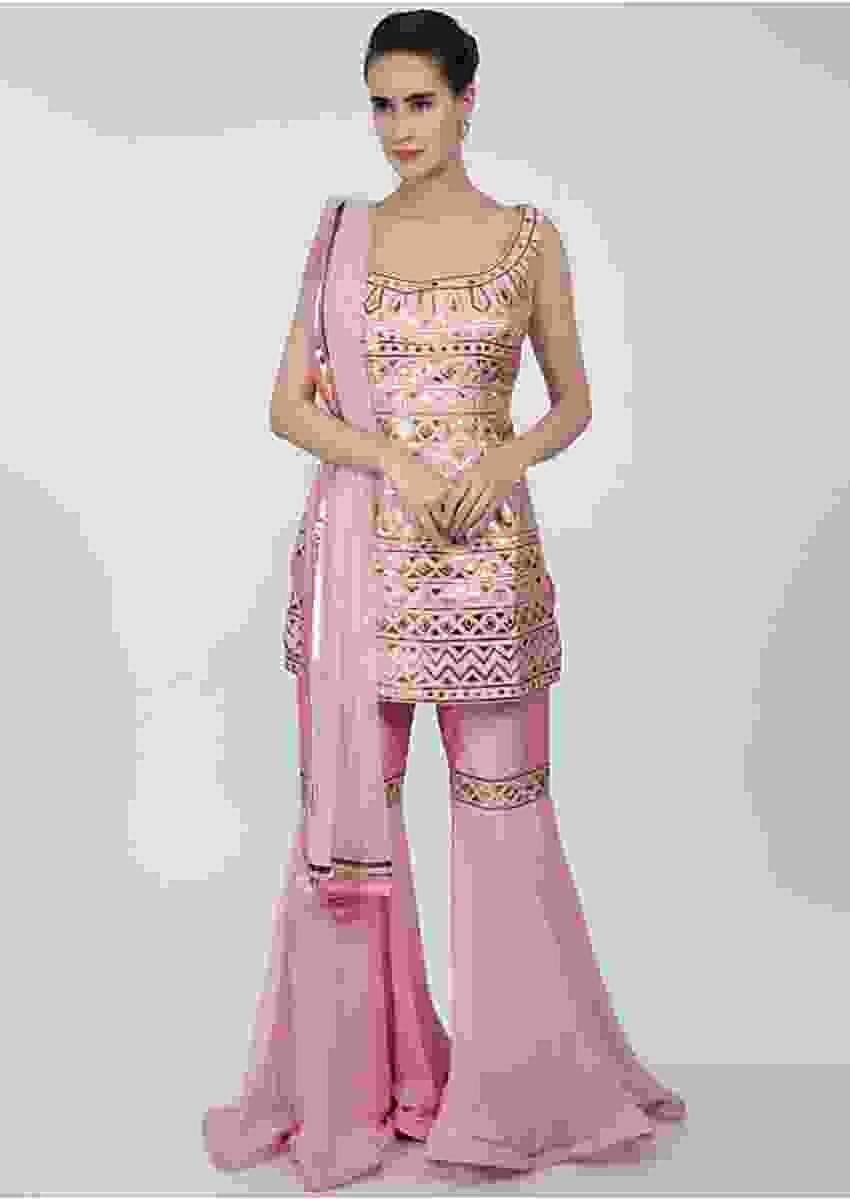 Rose Pink Sharara Suit Set In Lurex Applique Work Online - Kalki Fashion