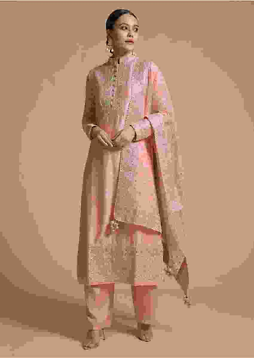Rose Pink Straight Cut Suit With Cord And Sequins Work In Moroccan And Floral Design On The Placket And Border Online - Kalki Fashion