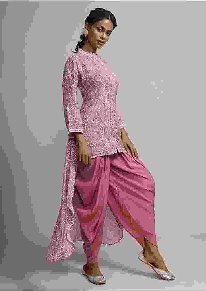 Rosewood Pink Bandhani Printed Suit With Matching Dhoti Pant Online - Kalki Fashion