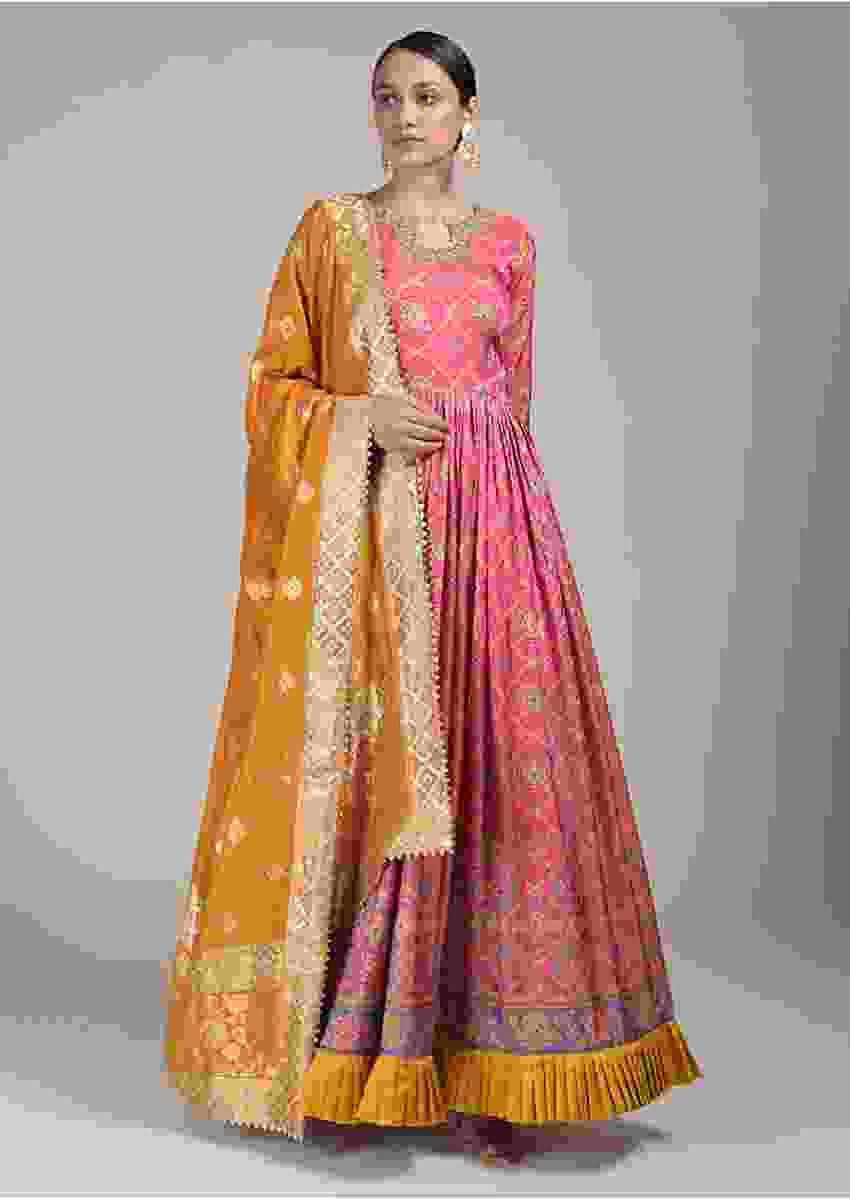 Rouge Pink Anarkali Suit In Silk With Bandhani And Patola Print And Contrast Mustard Frill Online - Kalki Fashion