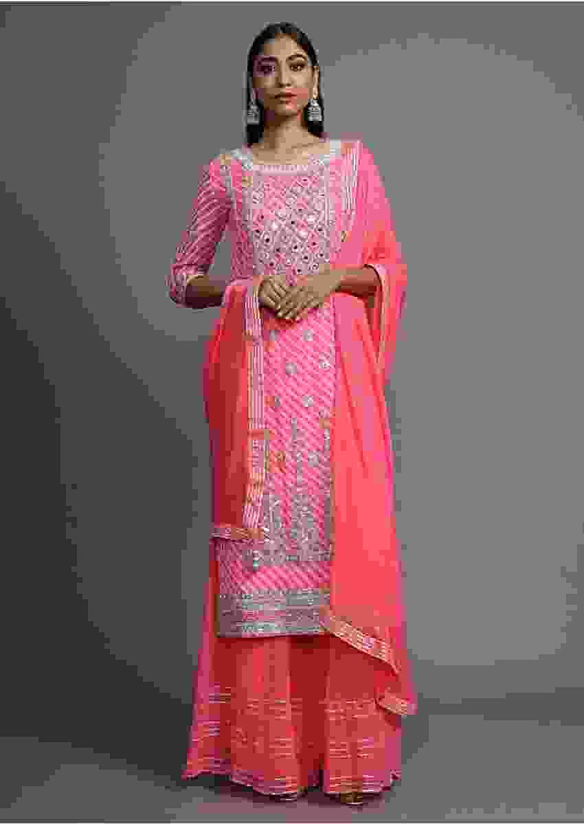 Rouge Pink Palazzo Suit In Georgette With Lehariya Print And Embroidred With Gotta Patti And Mirror Online - Kalki Fashion