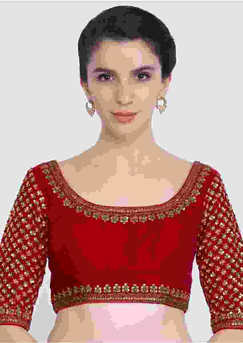 Red Blouse In Raw Silk With Jaal Embroidered Sleeves And Round Neck Online - Kalki Fashion