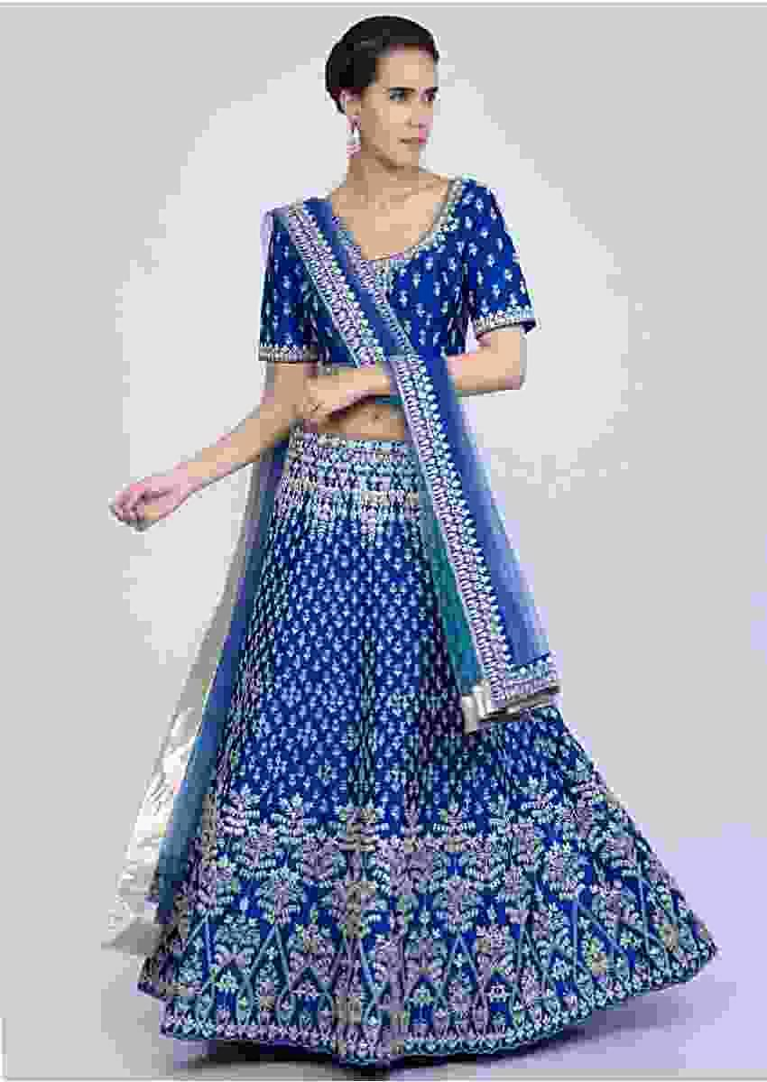 Royal Blue Lehenga Set In Heavy Gotta And Cord Embroidered Raw Silk Online - Kalki Fashion
