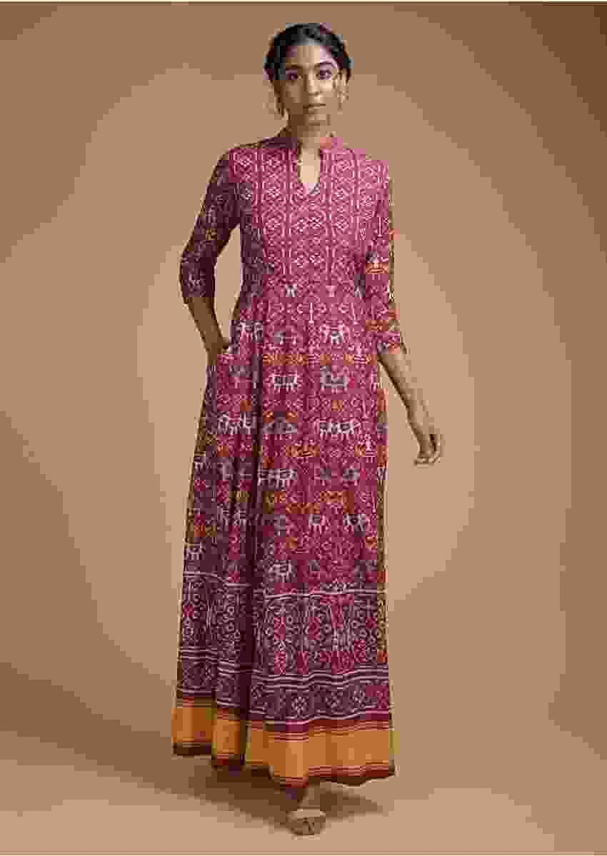 Ruby Red Anarkali Dress In Santoon With Patola Print All Over Online - Kalki Fashion