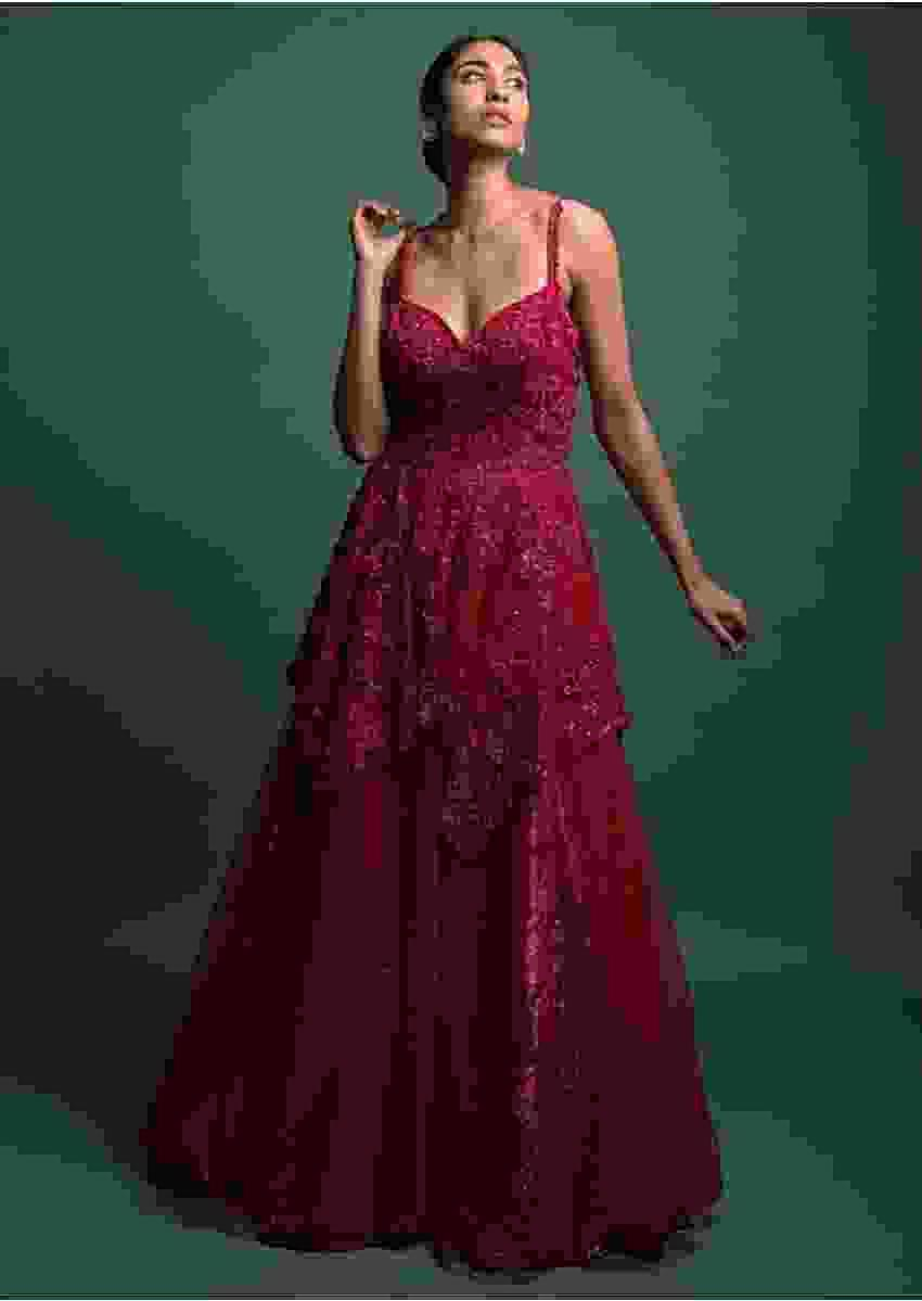 Ruby Red Gown In Net With 3D Floral Embroidery And Fancy Cut Out In The Back Online - Kalki Fashion