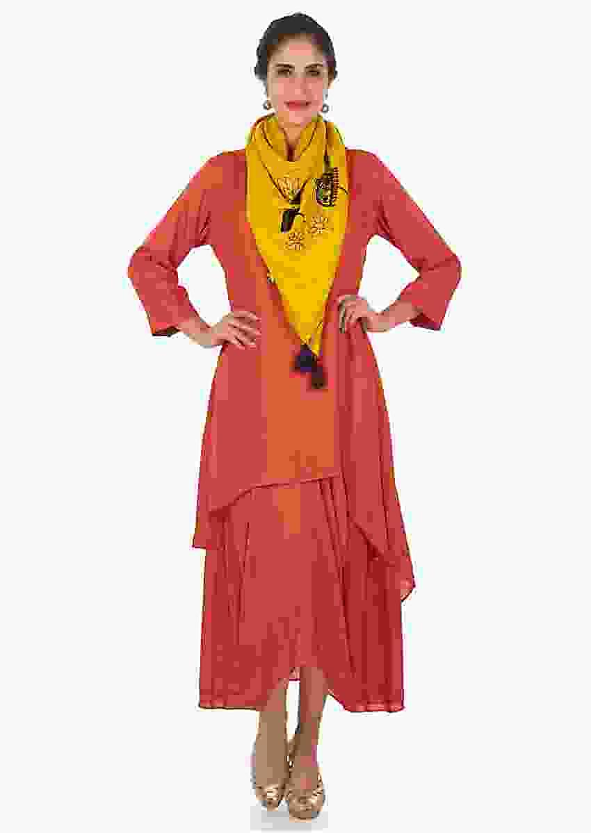 Rust A Line Double Layer Suit In Cotton With A Fancy Drape Online - Kalki Fashion