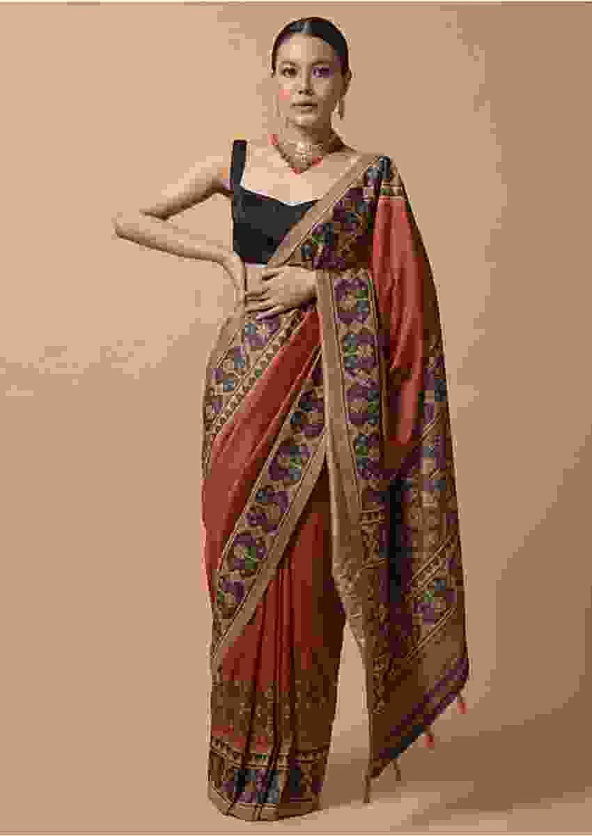Rust Orange Saree In Silk With Printed Patola Design On The Border Online - Kalki Fashion