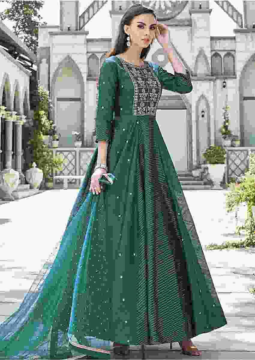 Sacramento Green Anarkali Suit In Raw Silk With Alternate Kali Online - Kalki Fashion