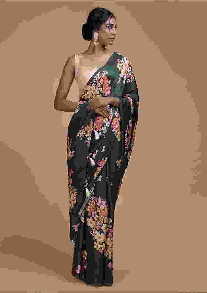 Sacramento Green Saree In Satin Blend With Floral Print All Over Online - Kalki Fashion