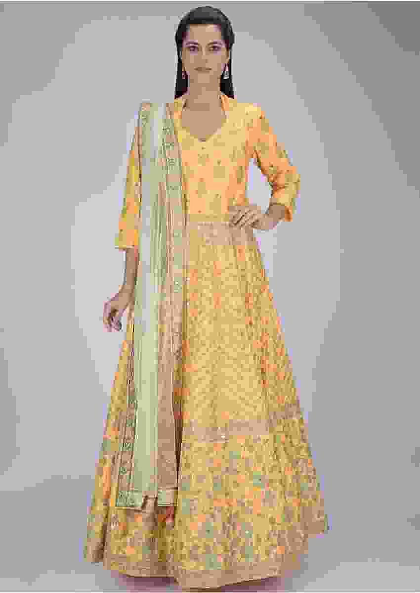 Saffron Yellow Suit In Cotton With Mint Green Net Dupatta Online - Kalki Fashion