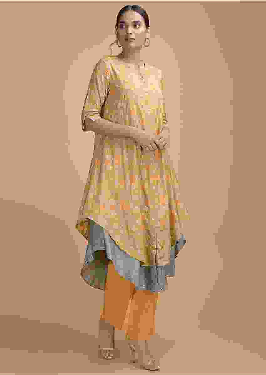 Saffron Yellow Layered Kurti With Patola Print And Thread Embroidery Online - Kalki Fashion