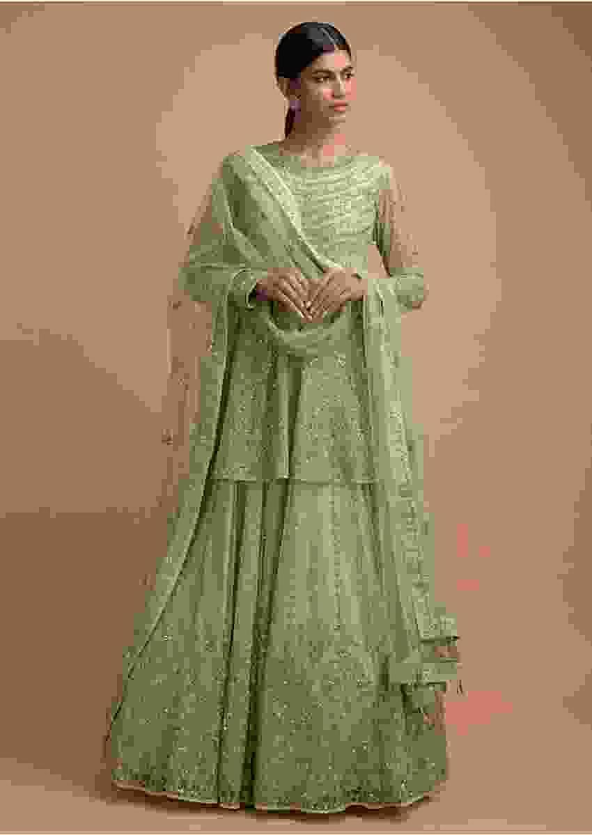 Sage Green Anarkali Suit With Peplum Waist And Heavy Embroidery Work Online - Kalki Fashion
