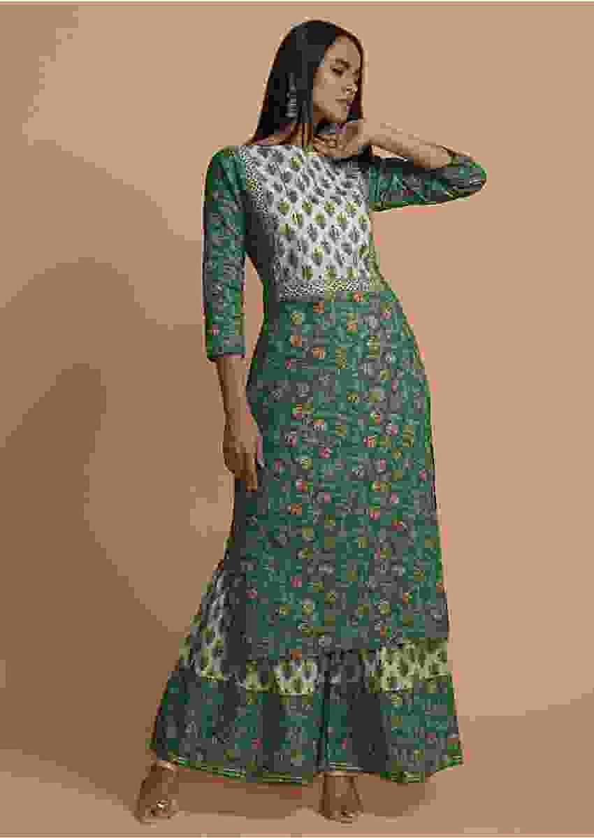 Sage Green And White Sharara Suit In Cotton With Floral Print And Gotta Lace Work Online - Kalki Fashion