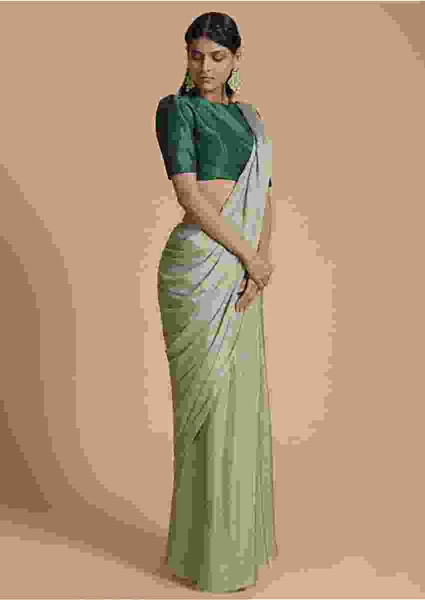 Sage Green Saree In Chiffon Embellished With Scattered Badla Work Online - Kalki Fashion