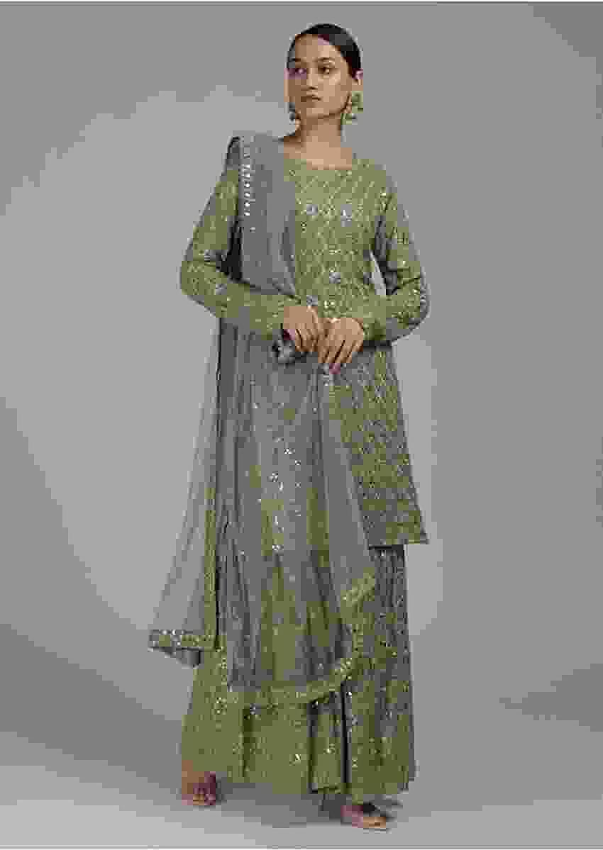 Sage Green Sharara Suit In Georgette With Zari And Mirror Embellished Moroccan Jaal Online - Kalki Fashion