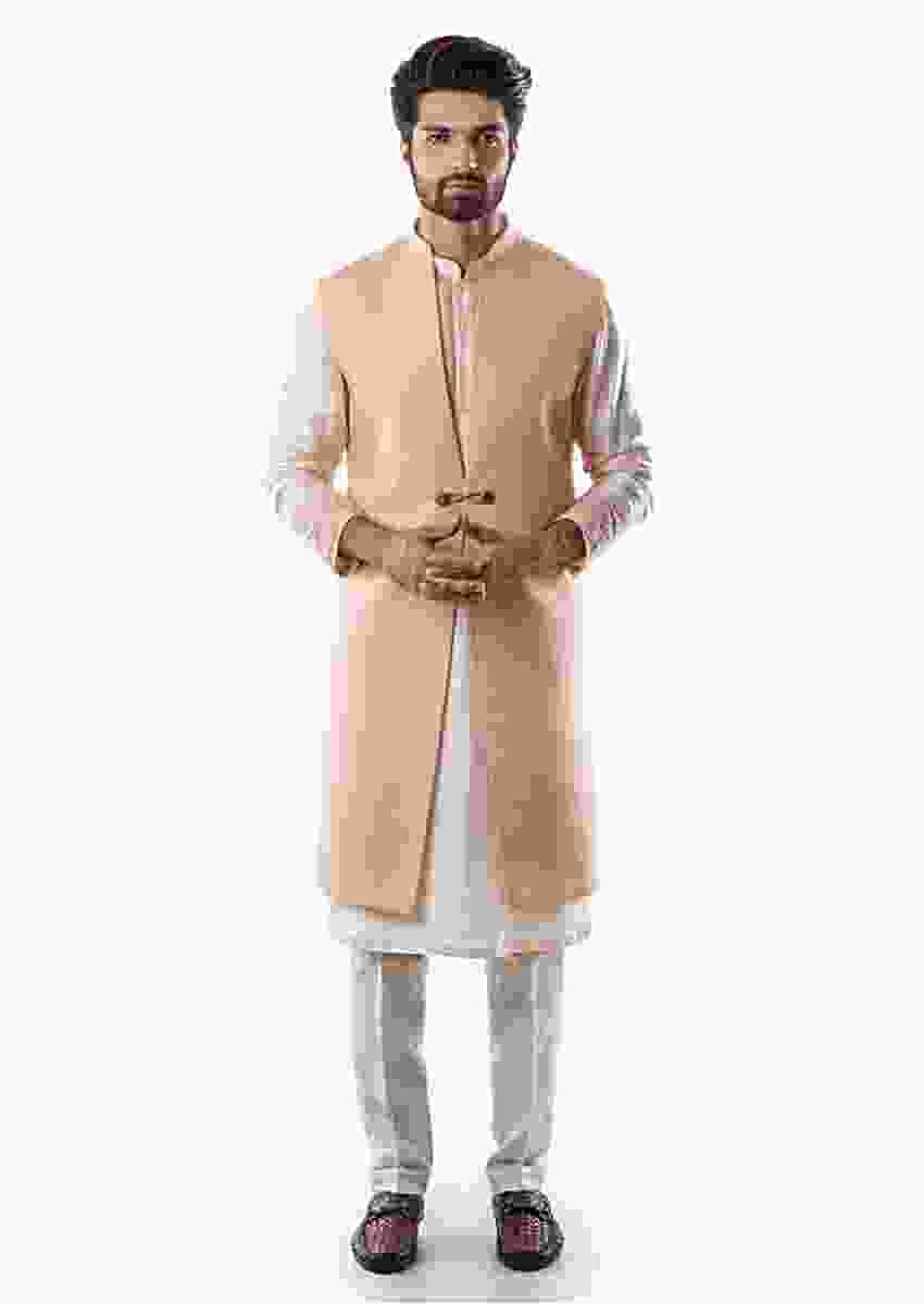 Salmon Pink Kurta Set With Intricate Dori Embroidery And Powder Pink Long Line Nehru Jacket Jacket Online - Kalki Fashion