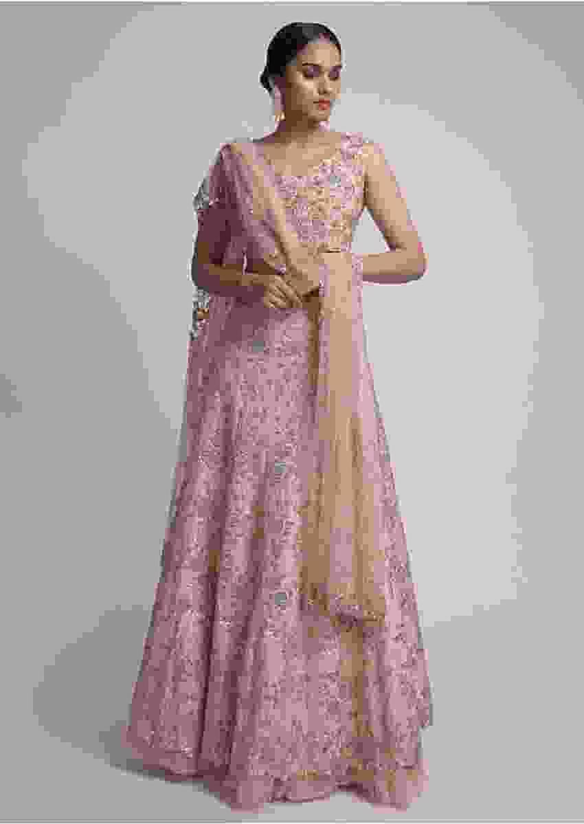 Salmon Pink Lehenga Choli Zardosi Embroidered Floral Pattern On The Kalis Online - Kalki Fashion