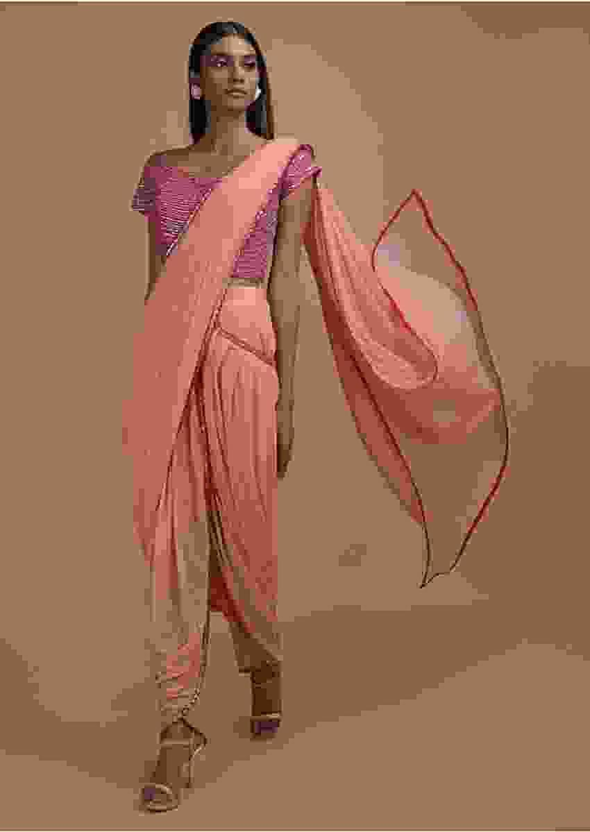 Salmon Pink Ready Pleated Dhoti Saree With Hot Pink Mirror Embellished Blouse Online - Kalki Fashion