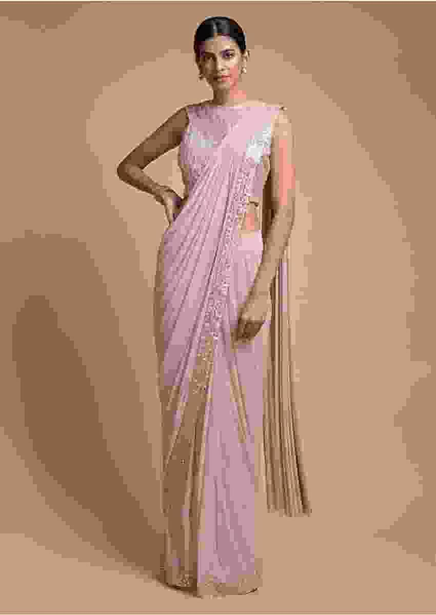 Salmon Pink Ready Pleated Saree In Soft Net With Mirror Embroidered Border Online - Kalki Fashion