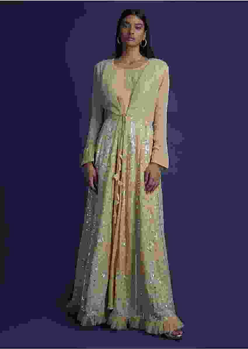 Sand Beige Anarkali Suit With Embroidered Long Jacket Online - Kalki Fashion