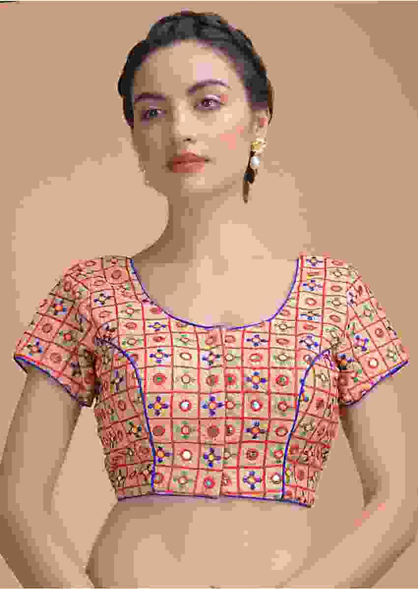 Sand Beige Blouse With Colorful Thread And Abla Embroidery In Checks And Flower Motifs Online - Kalki Fashion