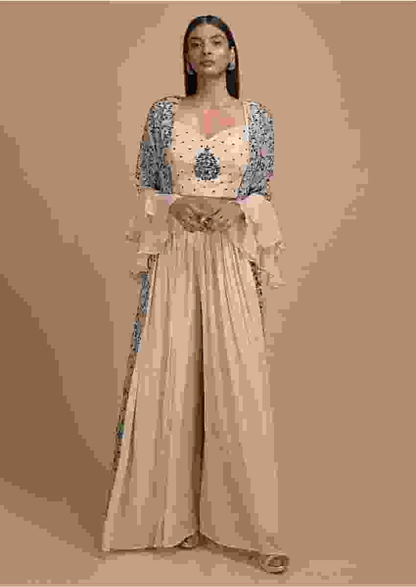 Sand Beige Palazzo Suit And Jacket With Jaal Embroidery And Ruffle Sleeves Online - Kalki Fashion